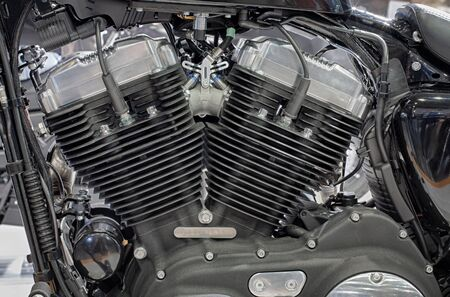 cooled: Detail of air cooled  engine of motorcycle Stock Photo