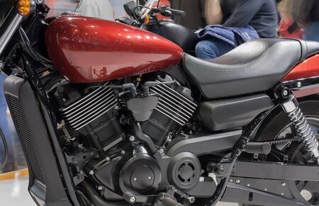 cooled: Close up of liquid cooled V-twin engine of motorcycle. Stock Photo