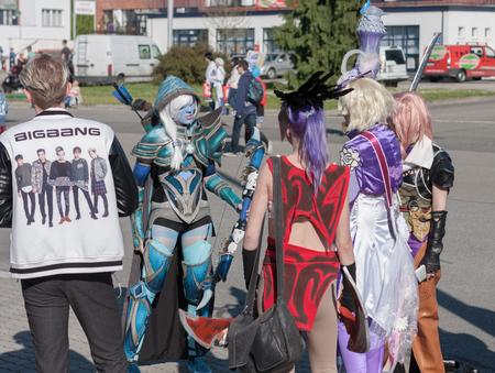 drow: BRNO, CZECH REPUBLIC - APRIL 30, 2016: Cosplayers dressed as characters from PC games  at Animefest, anime convention on April 30, 2016 Brno, Czech Republic Editorial