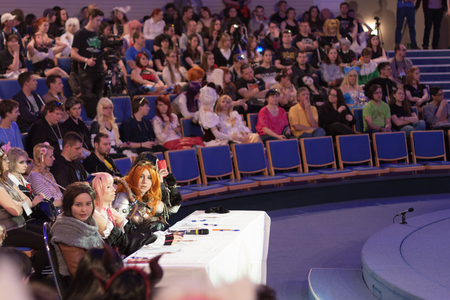 jurors: BRNO, CZECH REPUBLIC - APRIL 30, 2016: Four jurors sitting at the table during cosplay contest  at Animefest, anime convention on April 30, 2016 Brno, Czech Republic Editorial