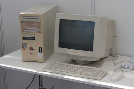 crt: BRNO, CZECH REPUBLIC - APRIL 30, 2016: Old personal computer with crt monitor  at Animefest, anime convention on April 30, 2016 Brno, Czech Republic