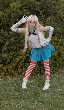 czech women: BRNO, CZECH REPUBLIC - APRIL 30, 2016: Cosplayer dressed as the character Schimakaze from Kantai collection (KanColle) at Animefest, anime and manga convention on April 30, 2016 Brno in the Czech Republic Editorial
