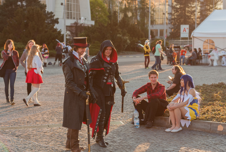 creed: BRNO, CZECH REPUBLIC - APRIL 30, 2016:  Cosplayers dressed as characters from game Assassin´s Creed  pose at Animefest on April 30, 2016 Brno, Czech Republic