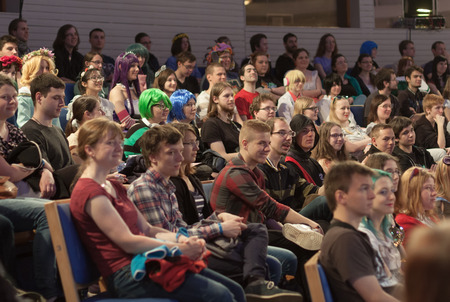 talks: BRNO, CZECH REPUBLIC - APRIL 30, 2016: Auditorium of young people  in lecture hall listens talks  at Animefest, anime convention on April 30, 2016 Brno, Czech Republic