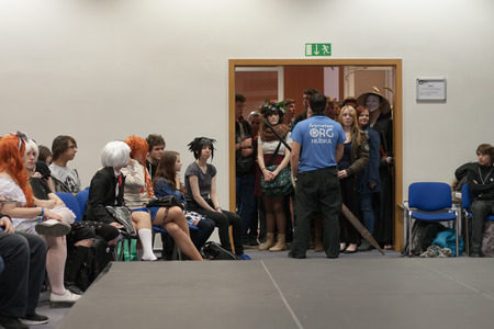anime young: BRNO, CZECH REPUBLIC - MAY 1, 2016: Young people waiting to opening workshop at Animefest, anime and manga convention on MAY 1, 2016 Brno in the Czech Republic.