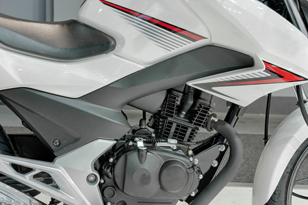 cylinder block: Close up of engine of new motorcycle