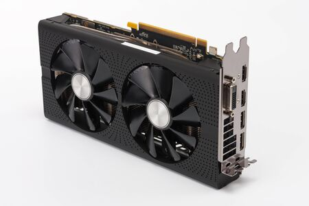 dvi: New modern gaming graphics card on white background, main component for VR gaming.