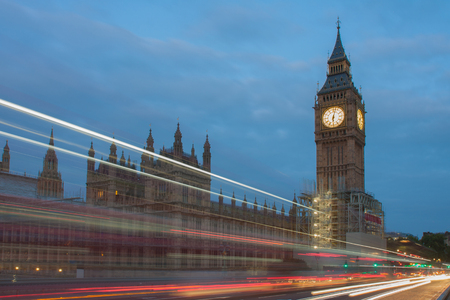 Light trails on westminster bridge, Big Ben and Palace of Westminster in the morning, London, England. Editorial