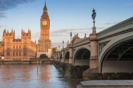 Palace of Westminster, Big Ben and Westminster bridge in the morning , London, England.