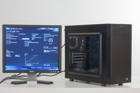 Brnenec, Czech Republic-August  4,2016: First running of PC, Bios, firmware program of motherboard Asus H110M-K on screen. ASUS is the number one manufacturer of motherboards in the world