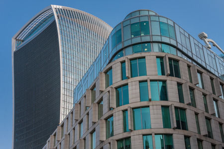 CITY OF LONDON, LONDON-SEPTEMBER 7,2017: Plantation Place South, 9 floor office building and Walkie Talkie building in postmodern style on September 7, 2017 in London. Editorial