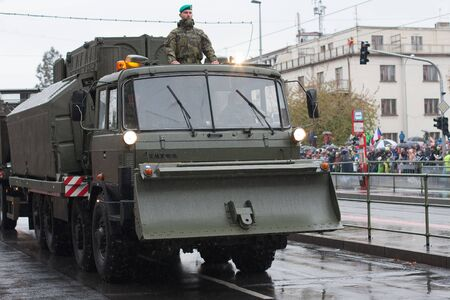 European street, Prague-October 28, 2018: Soldiers of Czech Army are riding military truck with pontoon bridge set on military parade on October 28, 2018 in Prague, Czech Republic 에디토리얼