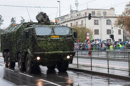 European street, Prague-October 28, 2018: Soldiers of Czech Army are riding mobile workshop on military parade on October 28, 2018 in Prague, Czech Republic 에디토리얼