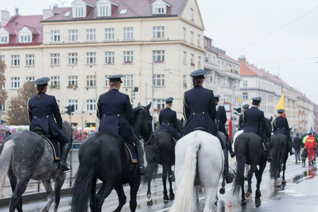 Mounted Police of Czech Republic on military parade  in Prague, Czech Republic