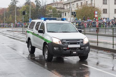 Pickup truck, car of Military police on military parade  in Prague, Czech Republic 版權商用圖片