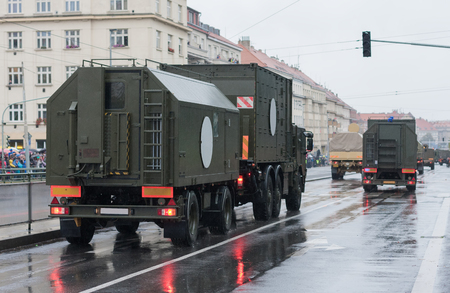 Soldiers of Czech Army are riding mobile casualty ward on military parade  in Prague, Czech Republic Imagens