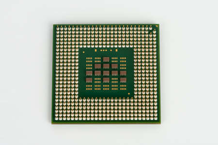 Close up of  laptop processor on white background.