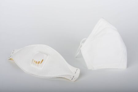Face respirator ffp1 and face respirator ffp2, personal protective equipment to protect against the virus covid-19. Stock Photo
