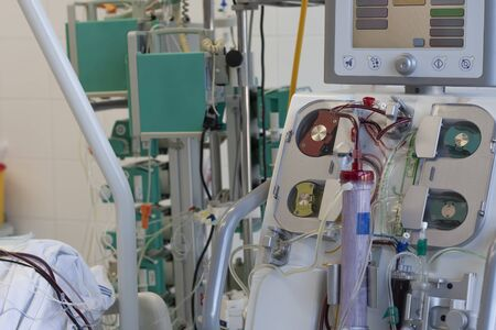 Dialysis machine in ICU in hospital,  a place where can be treated patients with pneumonia caused by coronavirus covid-19. Stock Photo