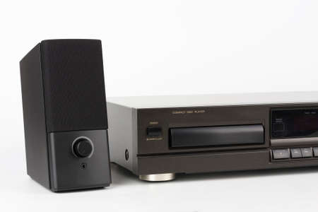 CD Player Stereo Hi-fi and stereo speaker. High-end audio equipment on a white background.