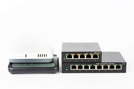 Three slower 10 or 100 Mbps Fast switches and 5-port gigabit desktop switch.