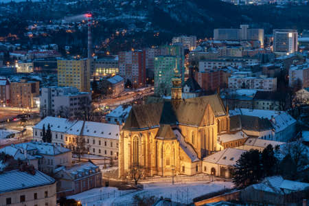 Aerial view of the Mendel Square with The Basilica of the Assumption of Our Lady in Brno in Czech Republic. Winter time 7 minutes before sunrise. View from Spilberk Castle Stock Photo
