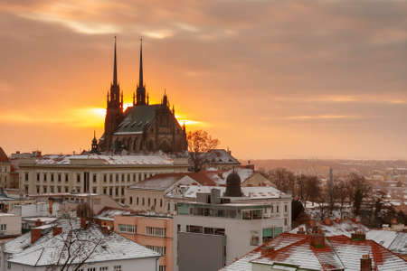 Aerial view of the Cathedral of Saints Peter and Paul in Brno in Czech Republic. Long exposure, used neutral density filter at winter sunrise time. View from Spilberk Castle