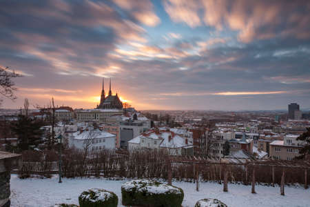 Panoramic view of the Cathedral of Saints Peter and Paul in Brno in Czech Republic. Long exposure, used neutral density filter at winter sunrise time. View from Spilberk Castle