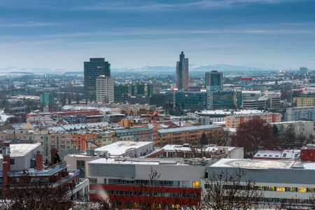 Panoramic view of Brno in Czech Republic. There is a hospital with heliport in the foreground. Stock Photo