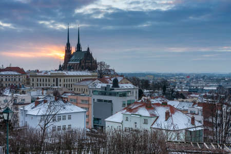 Aerial view of the Cathedral of Saints Peter and Paul in Brno in Czech Republic. Winter sunrise time. View from Spilberk Castle