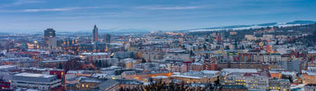 Panoramic view of Brno in Czech Republic. There is a hospital with heliport in the foreground.