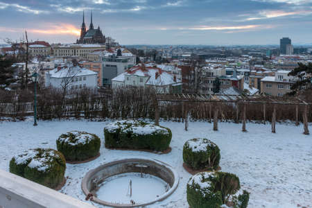 Aerial view of the Cathedral of Saints Peter and Paul in Brno in Czech Republic. Winter sunrise time.