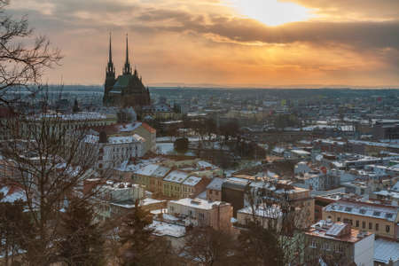 Panoramic view of the Cathedral of Saints Peter and Paul in Brno in Czech Republic. Long exposure, used neutral density filter at winter sunrise time. Stock Photo