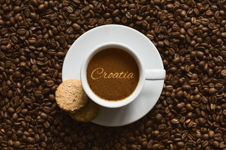 Still life photography of hot coffee beverage wtih text Croatia