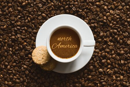 north america: Still life photography of hot coffee beverage with text north America Stock Photo