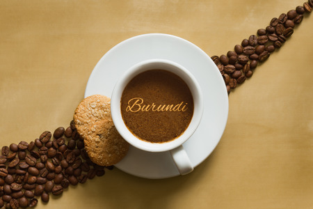 burundi: Still life photography of hot coffee beverage with text Burundi