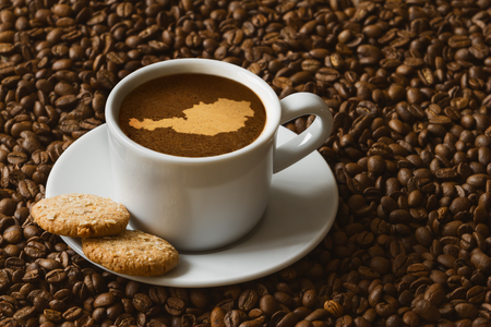austria map: Still life photography of hot coffee beverage with map of  Austria