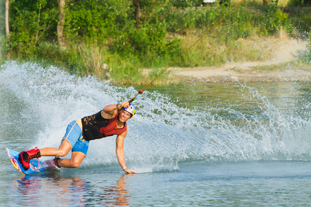 wakeboarding: BRATISLAVA, SLOVAKIA - JUNE 26, 2015: WakeLake Golden Trophy, Contest of Wake-boarding and Wake-skating