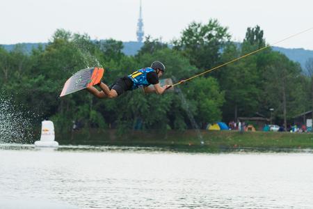 wakeboarding: BRATISLAVA, SLOVAKIA - JUNE 27, 2015: WakeLake Golden Trophy, Contest of Wake-boarding and Wake-skating