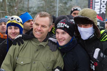 spartan: JASNA, SLOVAKIA - JANUARY 24, 2015: founder of Spartan Race Joe de Sena while first world Winter Spartan Race in Low Tatras