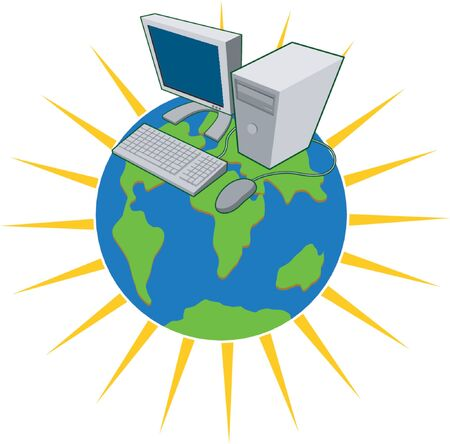 surfing the net: Computer on top of the world