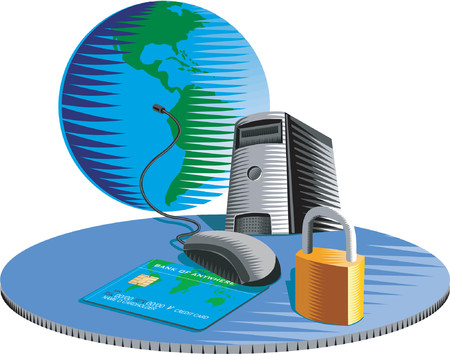 E-Commerce and security on the internet Illustration