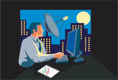 nightime: Businessman burning the midnight oil Illustration