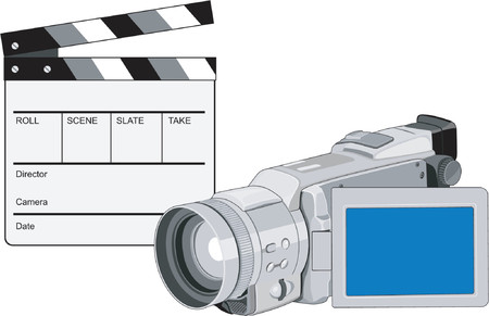 Clapboard with video camera Vector