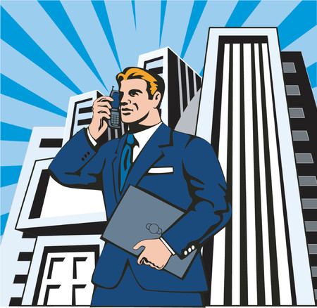 Businessman on phone with skyscrapers Vector
