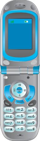 flip phone: Flipphone blue Illustration