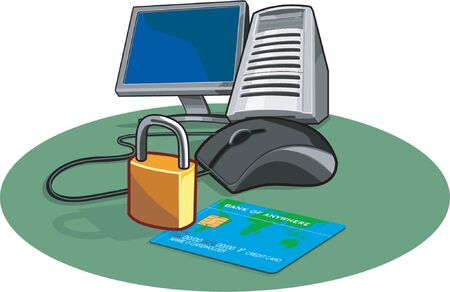 E-commerce and security on the internet Vector