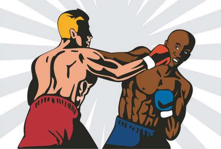 knockout: Boxer delivering a knockout Illustration