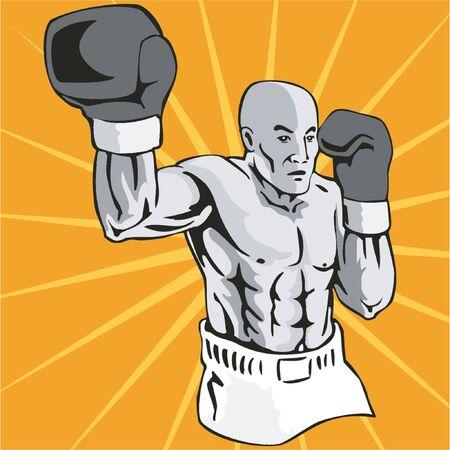 spar: Boxer jabbing at the camera