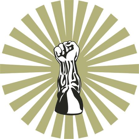 ballen: Fist Stanzen aufw�rts mit Sunburst